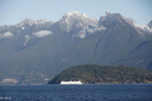 View from the Causeway with the first dusting of snow on the Coast Mountains