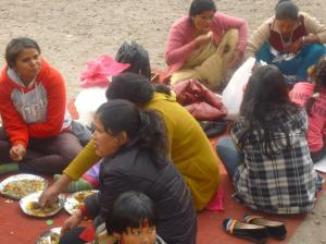 Enjoying rice, two veggie dishes and goat curry for lunch.  Best picnic good ever!