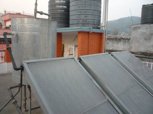 Rooftop water tanks and solar panels