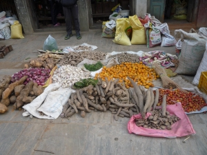 Veggies for sale. The taro root vegetable (Nepalese style) is on the left.  It tastes yum!