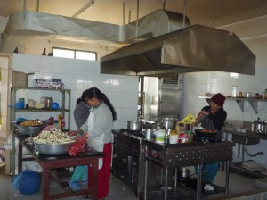 Four cooks prepare 3 meals a day plus 2 snacks for over 100 people (51 patients, their carers and staff).