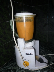 Dipping sauce in the blender - the electricity was working!