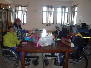 Vocational Training room - patients making felt items for sale to tourists