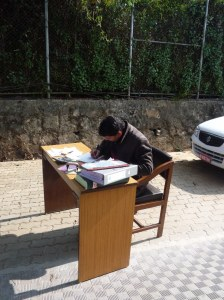 Shyam (Finance guy) being smart and working in the sun!