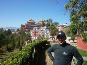 View of the monastery with Prajwal - who will accompany Ram on the Wheelchair Journey