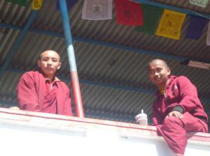 These young monks gave us some tips on how to avoid more steps going higher again up to the Stupa.  Spot the Starbucks cup?!
