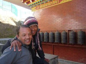 Taking a breather at the prayer wheels.  many more sets of steps to take yet.