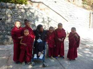 These young Monks were very curious about Ram and his wheelchair.  Given we cam down through their living quarters, clearly word spread and many came out for a look.  The awareness has started!