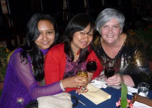Nikita, Chanda and I enjoying a glass of wine at the end of the event.  We deserved it!
