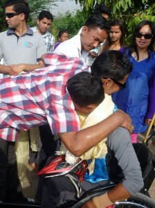 A very emotional moment for Ram and C-tal.  C-tal is an ex SIRC patient who completed his rehab 18 months ago, Ram was part of his therapy team.  C-tal and friends had traveled to Lumbini specifically to welcome & support Ram.  I was bawling at this point!