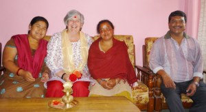 And the group photo taken in their sitting room Kirshna Maya (l), Me, Rina (m) and Lok (r)