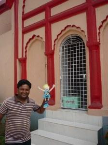 Happy at Dhakeshwari Temple, with Setu our guide
