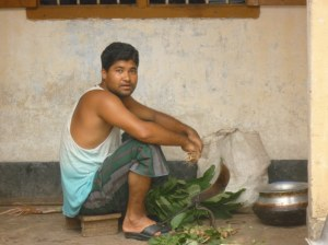 One of the staff preparing lunch for his colleagues