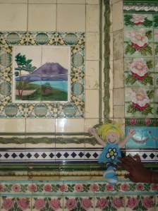 Happy with tiles depicting Mt Fuji, the area where many of the times used in the mosaic came from.