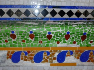 I particularly loved the combination of colours and simple designs of this mosaic