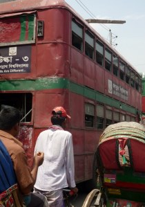 Dhaka has old red double deckers as their city buses.  Wonder which ruler introduced them ...