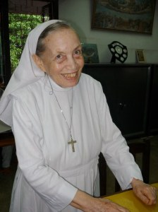 Sister Claudette, originally from France and who teaches the young ladies in fine embroidery