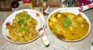 Aloo Gobi (l) & Aloo Ki Sabzi (r)