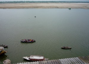 Packed boats of pilgrims (very few tourists at this time of year), view the ghats from the water
