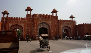 One of nine entrance gates to old city of Jaipur.  Magnificent!