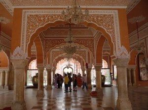 The marble-floored audience hall of the Maharajas called the Diwan-I-Khas.   The structure is beautifully decorated and is of course wall-less to catch those all important breezes!