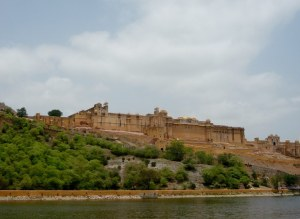 View of the Amber Fort from the narrow road on the opposite side of the river - pretty expansive  building that dominates the hillside.  It would intimidate me from attacking it.