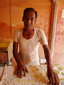 This man told me he was trained by a neighbour at the age of 12 in the art of block printing.  He uses both chemical and natural dyes but his preference is the natural dyes, but the chemical dyes are cheaper to produce.