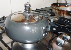 In Ireland & Canada, I have only ever seen large pressure cookers, but both Rajashi and Suman have small ones.  I now understand why Imogen (my Aussie friend in Nepal) shipped a small pressure cooker home at the end of her year in Nepal!  Suman had soaked the chickpeas overnight & cooked them in the pressure cooker.