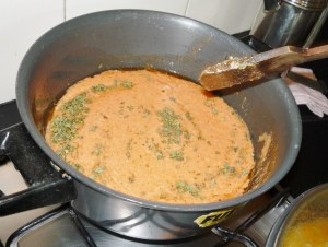 Add dried fenugreek and cook off until mixture glistens.