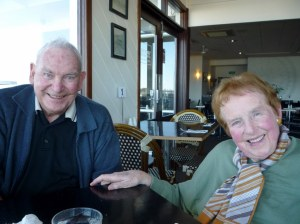 Uncle Jerry with long-time friend Prue McGoldrick who just celebrated her birthday and is in her 90th year.  This was take in Metung, Gippsland