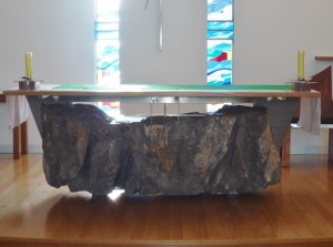 Fr Bernard used to be Parish Priest of the Lakes Entrance church, he was involved in it's renovation so I was keen to see it.  A beautiful job!  This is a huge rock found on the grounds that was made into the altar.