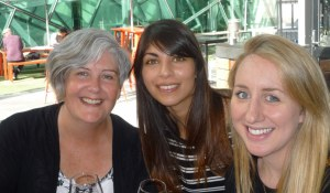 Me with Amara (m) and Maeve (r), enjoying an afternoon glass of wine at Fed Square