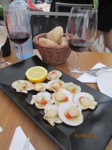 Scallops at Portomarin at the Mirador Restaurant