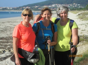 Finola (l) Grace (m) and myself just outside of Finisterre, taken by the local man out for his walk