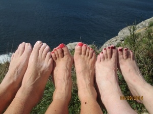 Our feet, finally free of our boots!