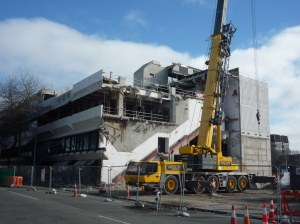 The old Christchurch Library slowly being demolished