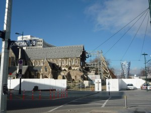 The beautiful Anglican cathedral, for so long an integral part of Christchurch's centre, badly damaged.  Whether to demolish/replace or repair/rebuild is a contentious issue in the city.