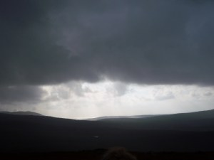 The the black clouds rolled in and we had to abandon our hike to the summit.