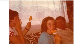 A lovely memory for me.  Uncle Jerry used to summer with us every 2 years in Garrettstown.  the big treat was getting ice creams at the day at the beach.  here's a photo of Unc, me in the middle and my eldest sister Deirdre on the left.