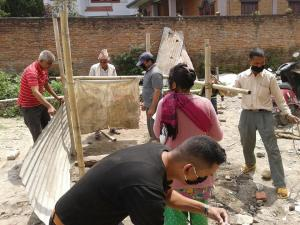 Building a public toilet in one of the shelter areas in Kathmandu