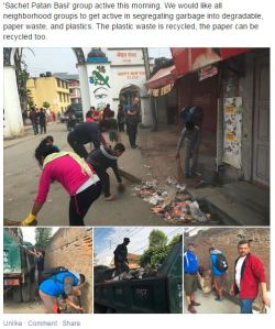 Keeping the streets clean means less spread of disease.  A clean up crew active in Lalitpur, Kathmandu