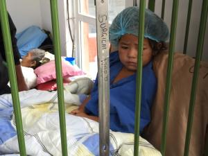 Patients of all ages - and young.  This little one has a broken leg.
