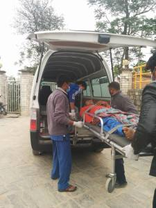 SIRC's team transporting a patient to the SIRC facility.