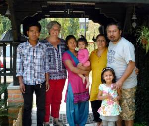 Me in Pokhara in happier times with Esha (2nd right), her husband Kiran (1st right) with Ahana (front right) and Avika (3rd right).