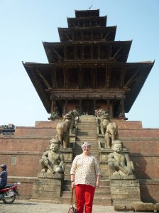 April 2014:  me standing at the foot of the  Nyatapola Temple in Bhaktapur.