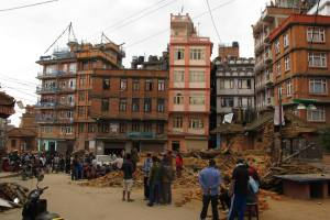 Most residences are intact, but temples went down in Kathmandu. Four were killed in this collapse in Patan.  Photo Credit Kunda Dixit.