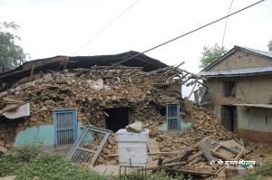 Damage to one of the many homes in Phoolbari