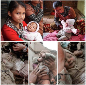 CNN wrote:  Baby Sonit Awal being pulled from the rubble has become the defining image of a disaster that has devastated Nepal. CNN's Thomas Booth met and photographed him today in the village of Bhaktapur, Nepal. As you can see, the little one is out of the hospital and doing well with his mom and big sister
