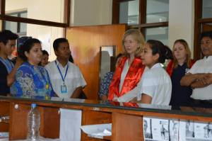 Mandira, SIRC's Head of Nursing, outlining her department to Joy Hutcheon.