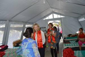 A visit to one of the temporary wards in a tent that holds eight patients.